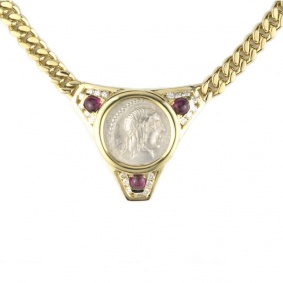 18k Yellow Gold Ruby & Diamond Set Roman Coin Necklace